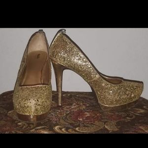 5 inch Sparkly Gold Heels Size 8.5